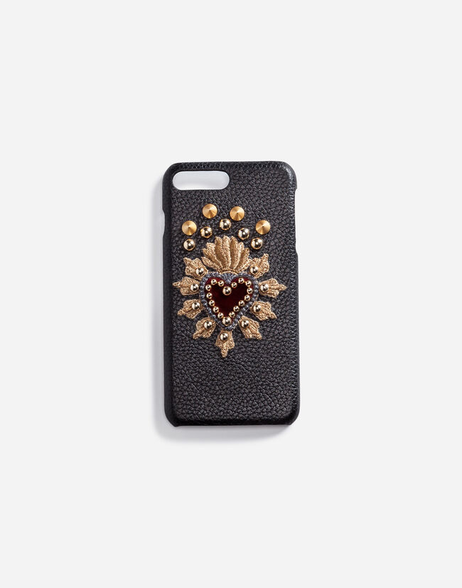 Dolce&Gabbana CALFSKIN IPHONE 7 PLUS COVER WITH SACRED HEART PATCH
