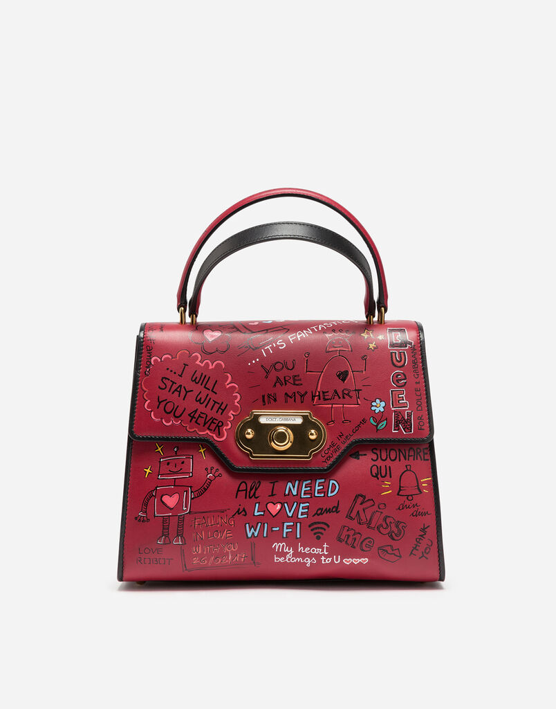 WELCOME HANDBAG IN PRINTED LEATHER