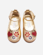 KID'S FIRST STEPS BALLET FLATS IN LAMINATED LEATHER