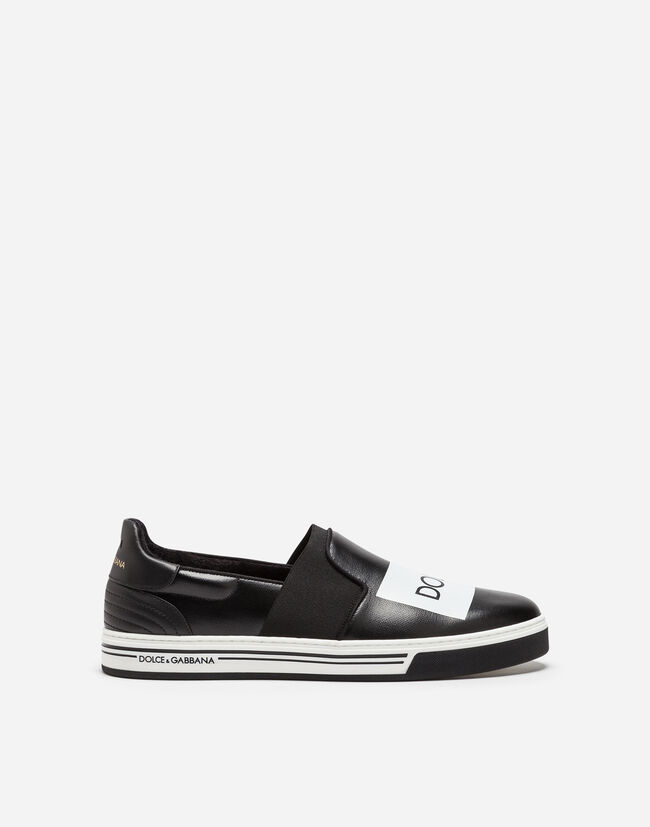 SLIP-ON ROMA SNEAKERS IN COATED CANVAS AND CALFSKIN