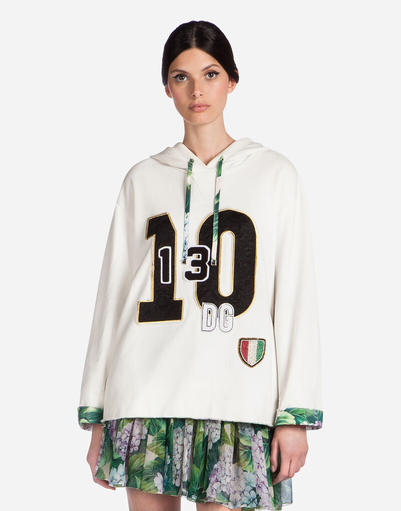 COTTON HOODIE WITH BEJEWELED EMBROIDERY