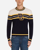 CREW NECK SWEATER IN WOOL WITH PATCH FEATURING LOGO