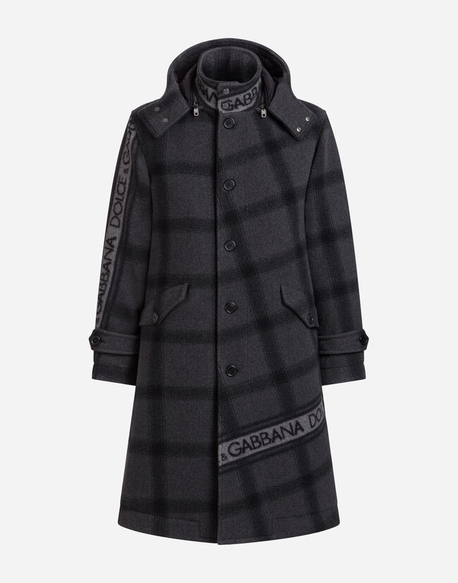 WOOL PEA COAT WITH JACQUARD DOLCE&GABBANA LOGO DETAIL
