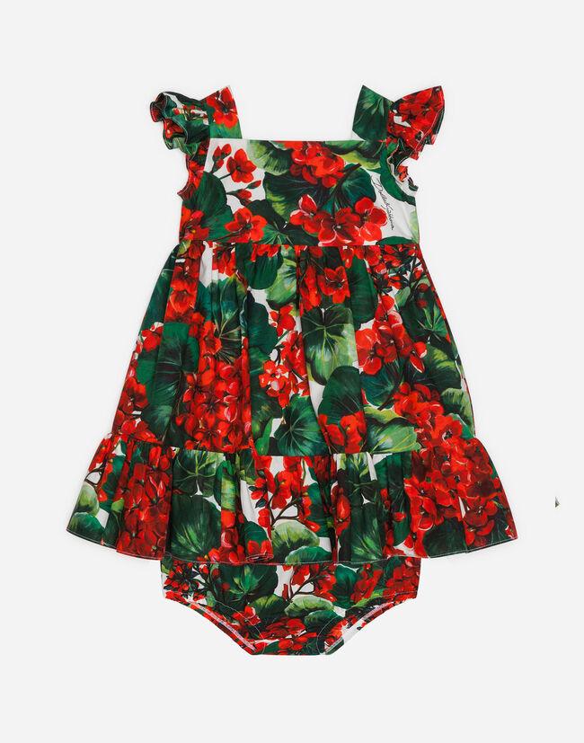 610be088 Dresses and Body for Newborns   Dolce&Gabbana - PORTOFINO-PRINT POPLIN DRESS