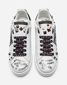 Dolce & Gabbana PORTOFINO SNEAKERS IN CALFSKIN WITH PATCH AND EMBROIDERY