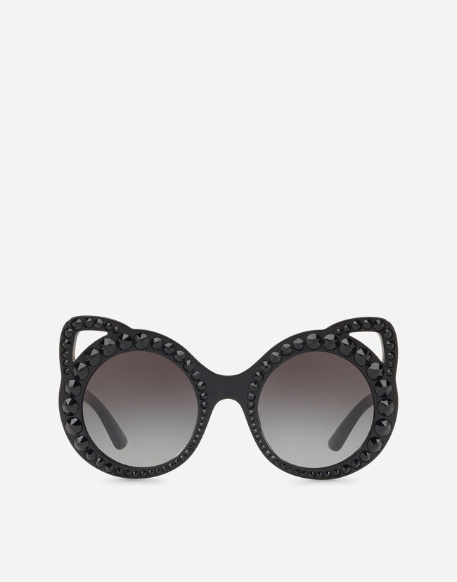 ROUND ACETATE SUNGLASSES WITH CRYSTAL DETAILS