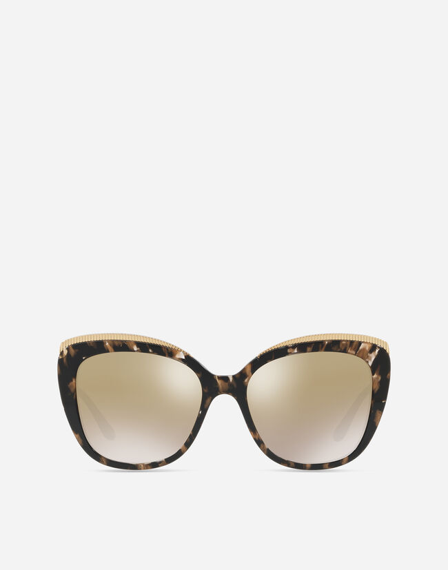 CAT-EYE SUNGLASSES WITH GROS GRAIN DECORATION