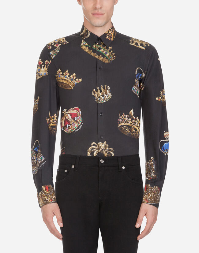 Dolce & Gabbana GOLD FIT SHIRT IN PRINTED COTTON
