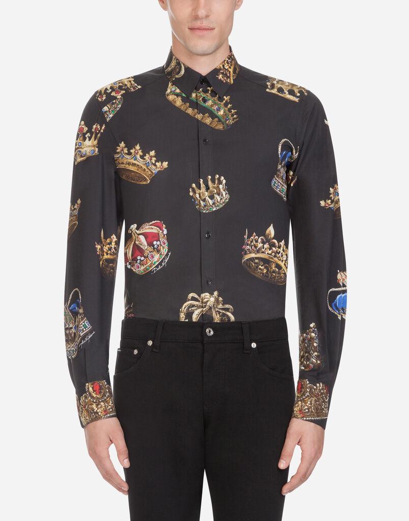Dolce   Gabbana GOLD FIT HEMD AUS BEDRUCKTER BAUMWOLLE 25200ce282