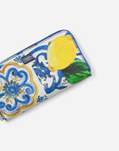 ZIP-AROUND PRINTED DAUPHINE CALFSKIN WALLET