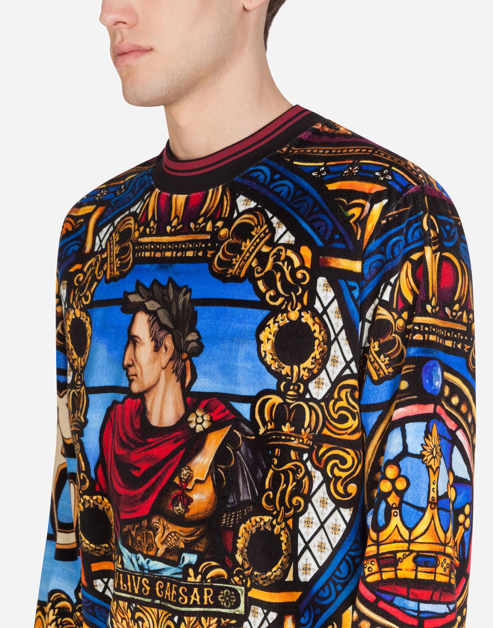 Sportswear für Herren | Dolce&Gabbana SWEATSHIRT AUS SAMT MIT JULIUS CÄSAR PRINT