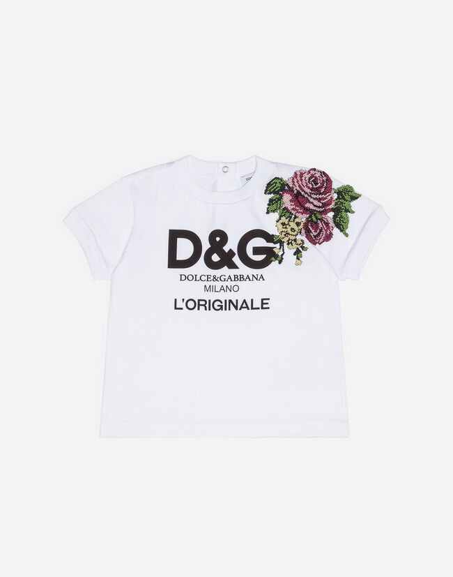 PRINTED COTTON T-SHIRT WITH PATCH