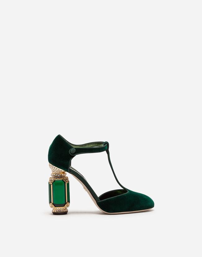Dolce & Gabbana VELVET T-STRAPS WITH JEWEL HEEL