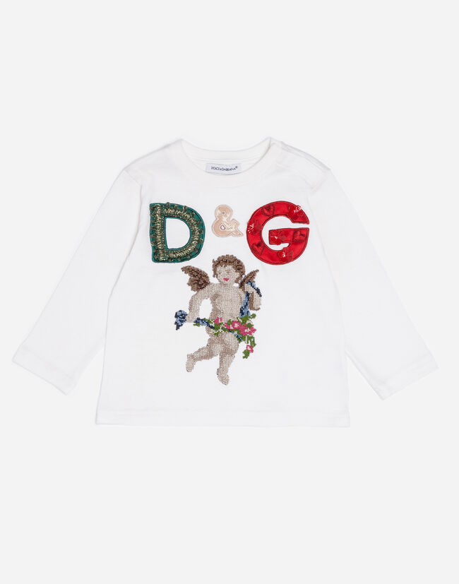 COTTON T-SHIRT WITH PATCHES AND APPLIQUÉS