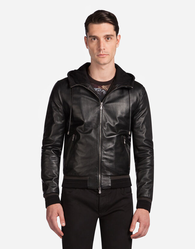 LAMBSKIN BOMBER JACKET WITH HOOD