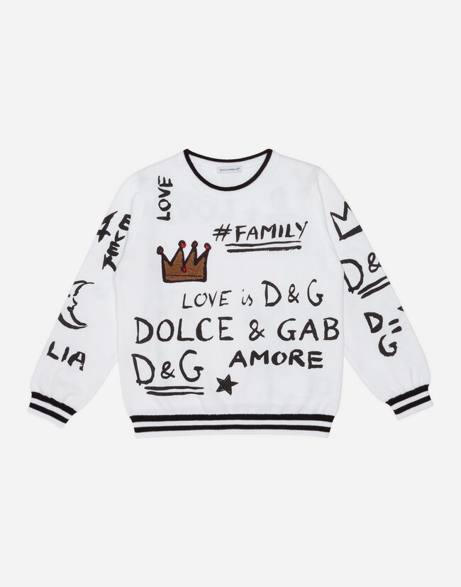 CREW NECK SWEATER IN PRINTED COTTON