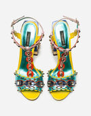 SANDAL IN MIXED MATERIALS WITH APPLIQUÉS AND JEWEL HEEL