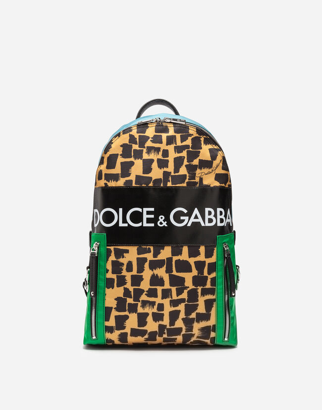 VULCANO BACKPACK IN PRINTED NYLON WITH LOGO PATCH