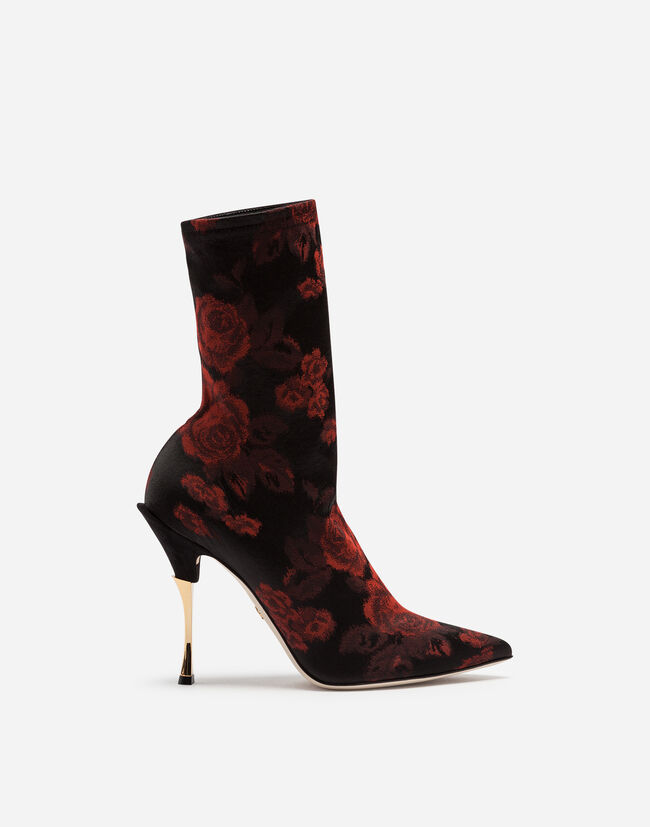 Dolce & Gabbana JACQUARD JERSEY ANKLE BOOTS
