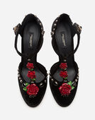 Dolce & Gabbana VELVET T-STRAPS WITH EMBROIDERY