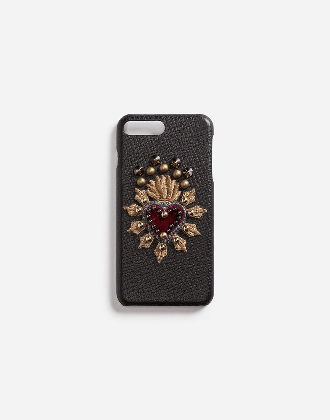 Dolce & Gabbana IPHONE 7 PLUS COVER IN CALFSKIN WITH HEART PATCH