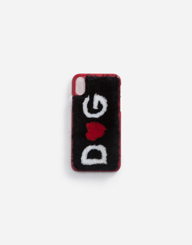 Dolce&Gabbana IPHONE X COVER IN LEATHER WITH LOGO PLATE