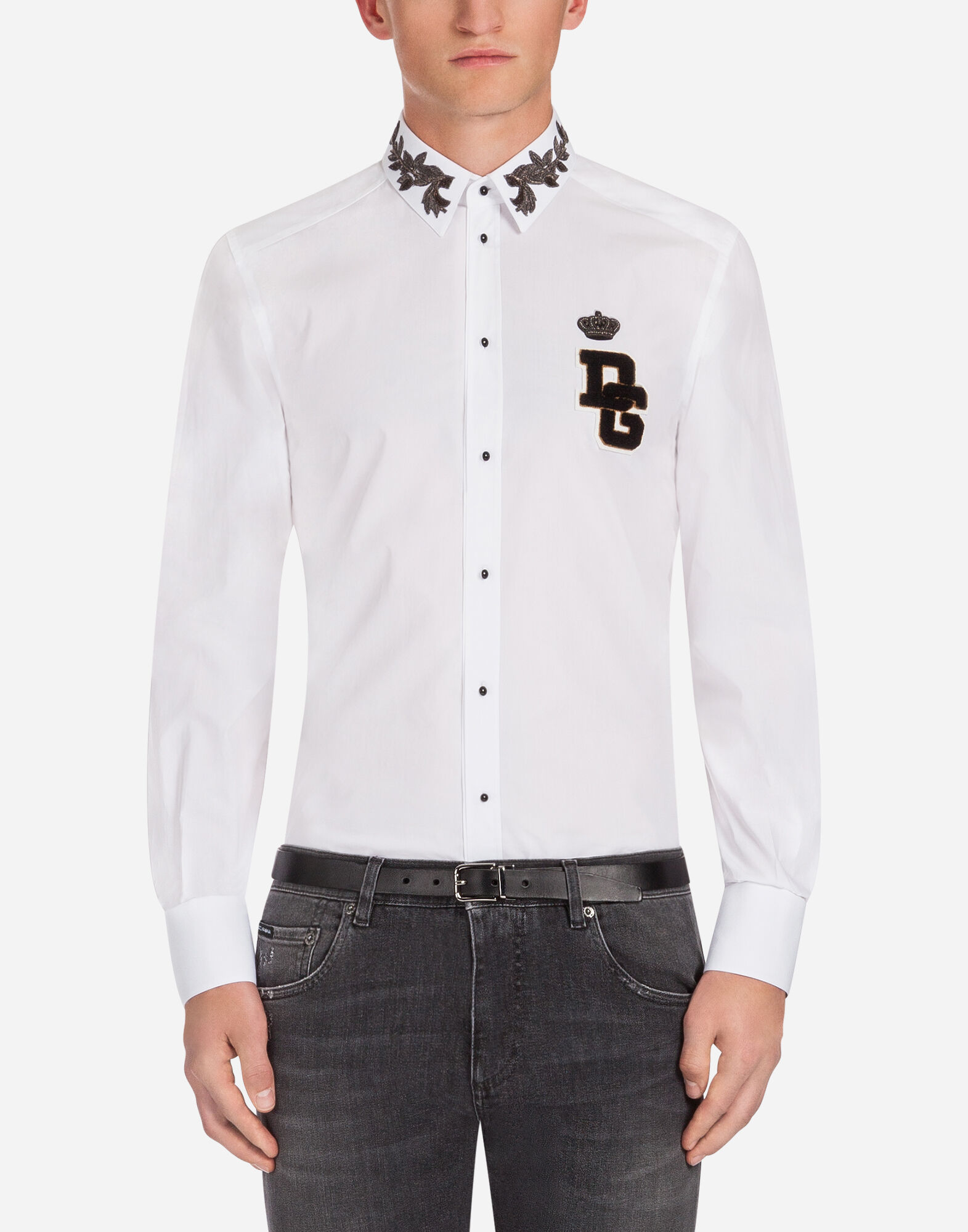 GOLD FIT SHIRT IN EMBROIDERED COTTON from DOLCE & GABBANA