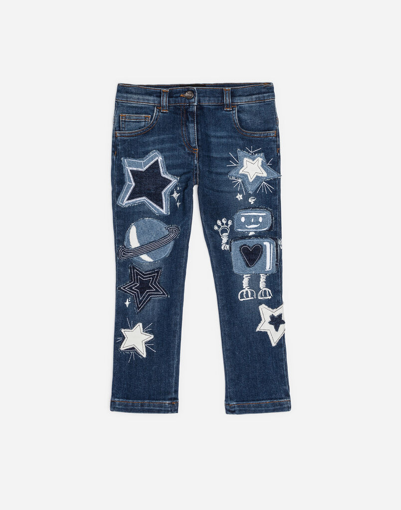 PRINTED STRETCH JEANS WITH PATCHES