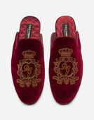Dolce&Gabbana VELVET SLIPPERS WITH EMBROIDERY