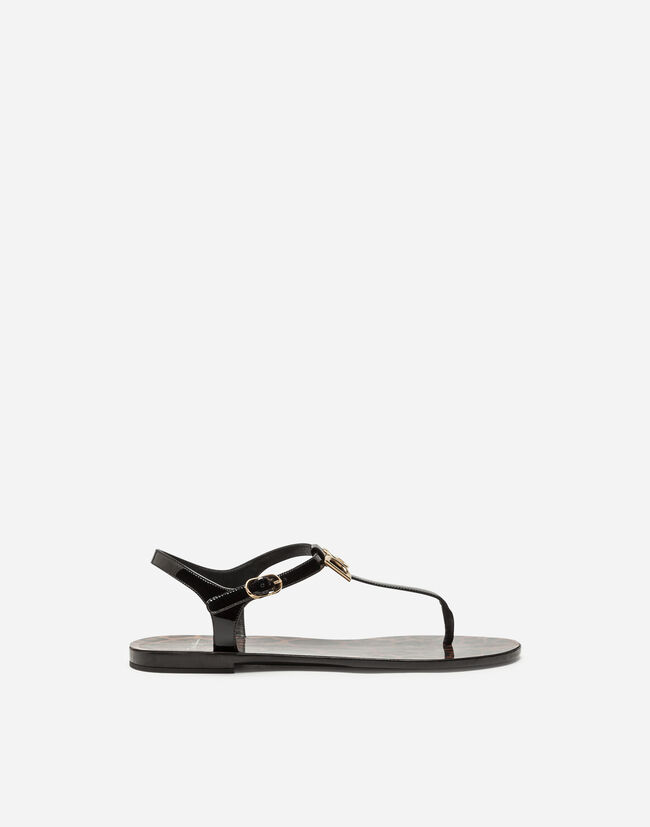 Dolce&Gabbana PATENT THONG SANDALS WITH LOGO