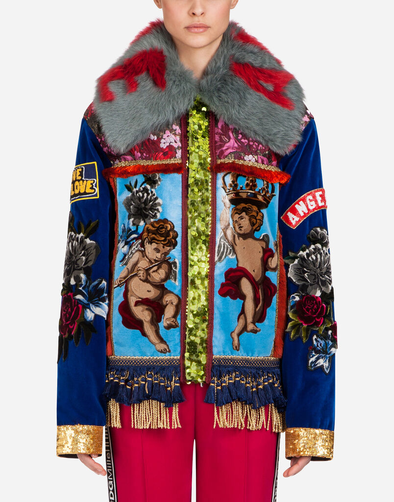 VELVET JACKET WITH PATCHES