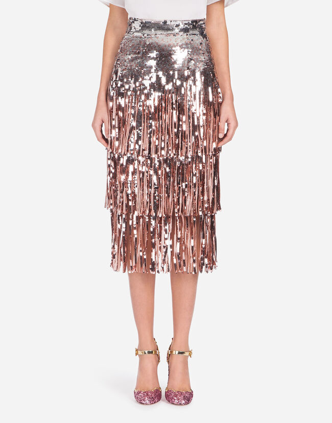 SEQUIN RUFFLE FRINGE SKIRT