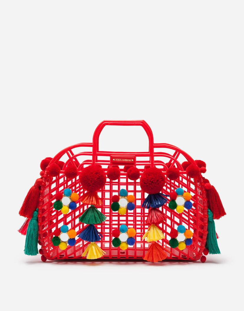 Women S Totes Dolce Gabbana Pvc Kendra Ping Bag With Embroidery