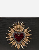 CALFSKIN DOCUMENT HOLDER WITH HEART PATCH