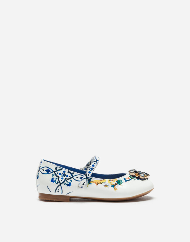 PRINTED PATENT LEATHER BALLET FLATS WITH EMBROIDERY