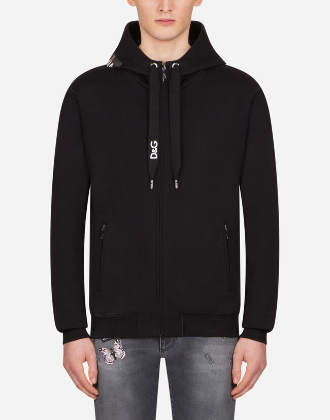 Dolce&Gabbana HOODED SWEATSHIRT WITH HEAT-PRESSED PATCH