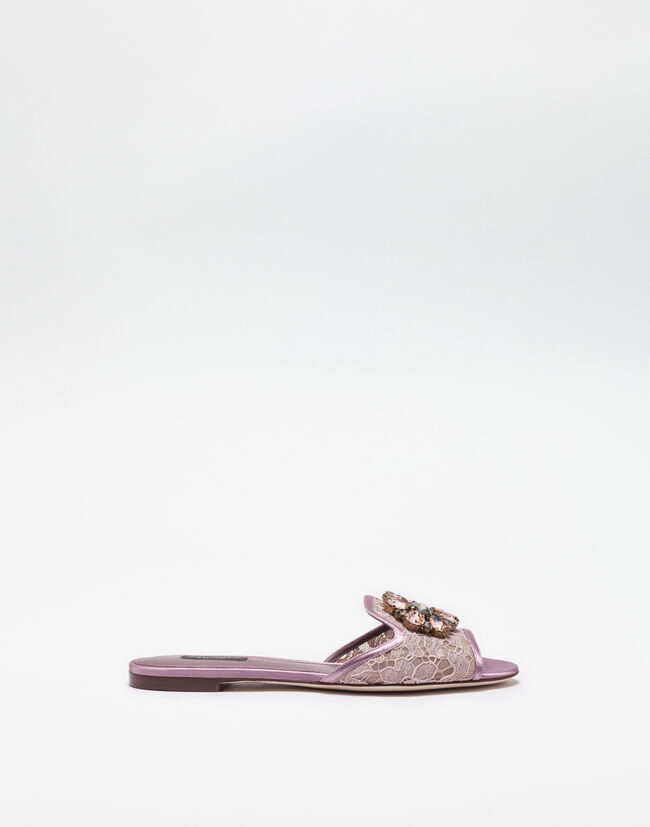 SLIPPERS IN LACE WITH CRYSTALS