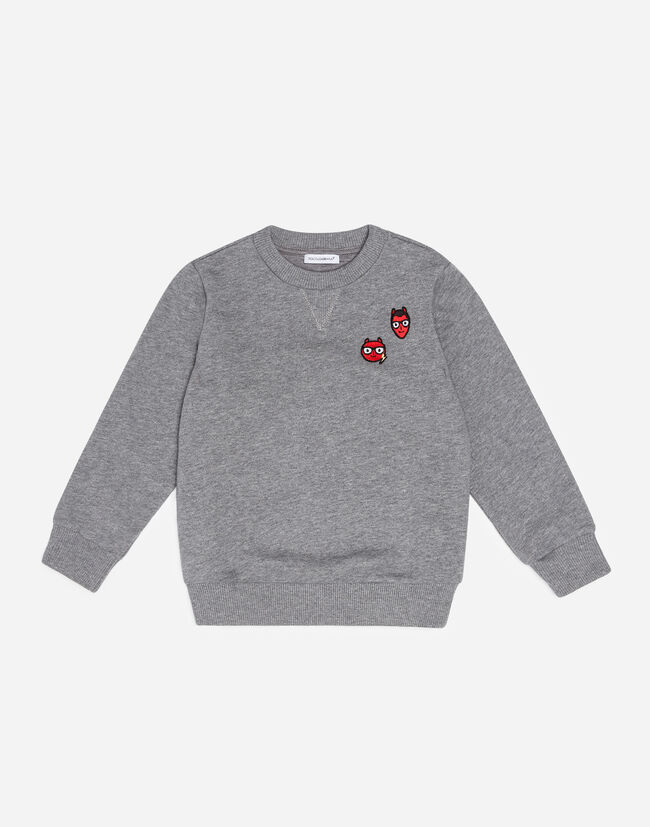 Dolce & Gabbana COTTON SWEATSHIRT WITH DESIGNERS' PATCHES
