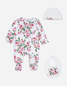 SET WITH ONESIE, BIB AND CAP IN PRINTED COTTON