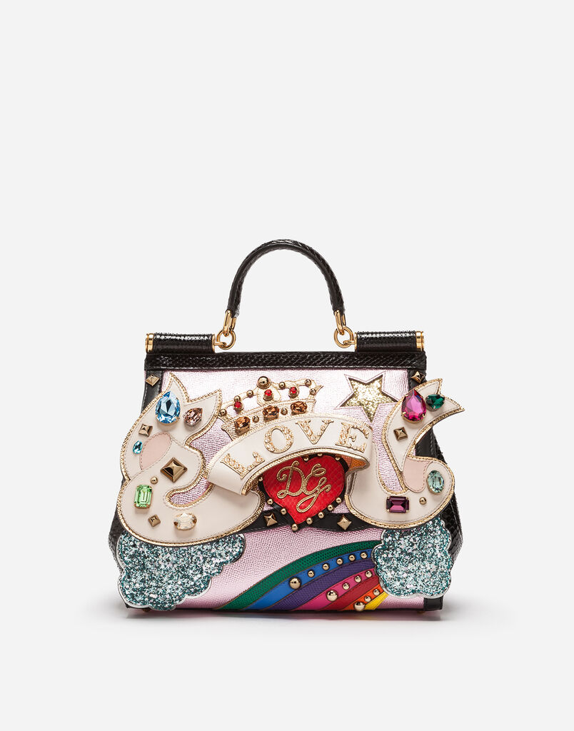 MEDIUM SICILY BAG IN A MIX OF MATERIALS WITH 3D PATCH AND EMBROIDERIES