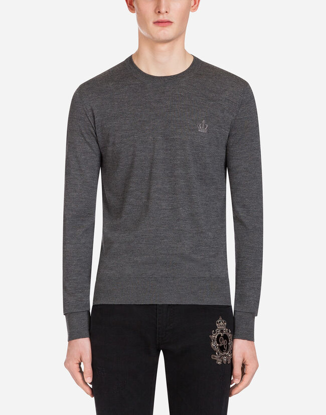 CREW NECK SWEATER IN WOOL WITH CROWN EMBROIDERY