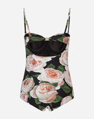 Dolce & Gabbana PRINTED BALCONETTE ONE-PIECE SWIMSUIT
