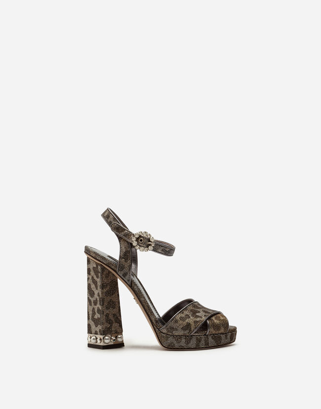PLATFORM SANDALS IN GLITTERY LEOPARD-PRINT WITH BEJEWELED HEEL