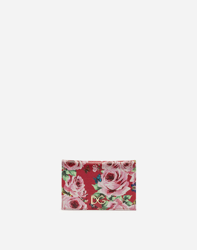 PRINTED DAUPHINE LEATHER CARD-HOLDER
