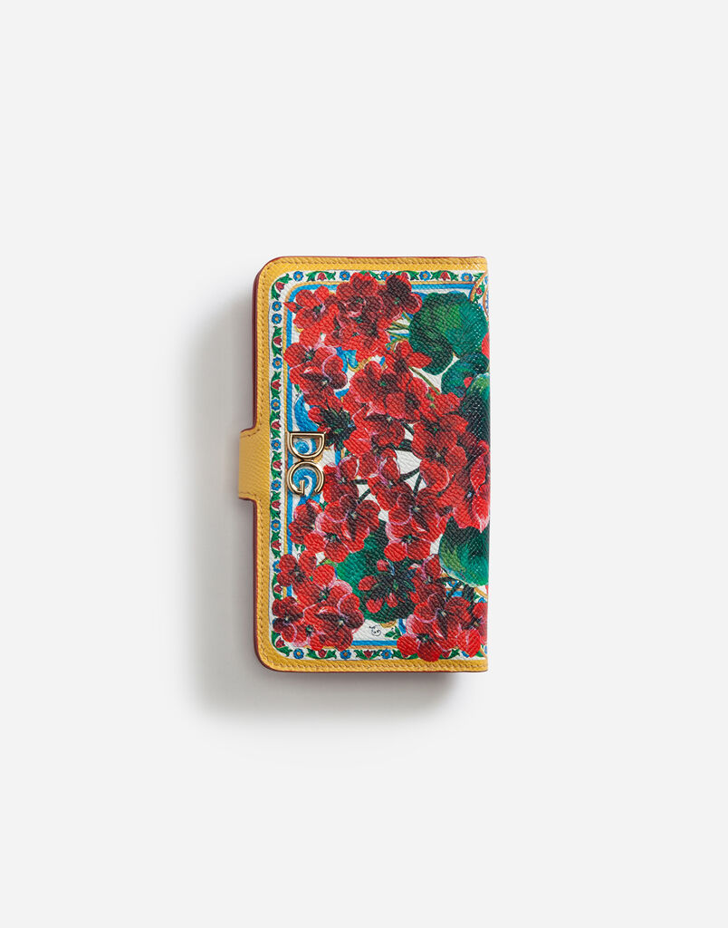 Dolce & Gabbana IPHONE X CASE IN PRINTED DAUPHINE CALFSKIN WITH LOGO