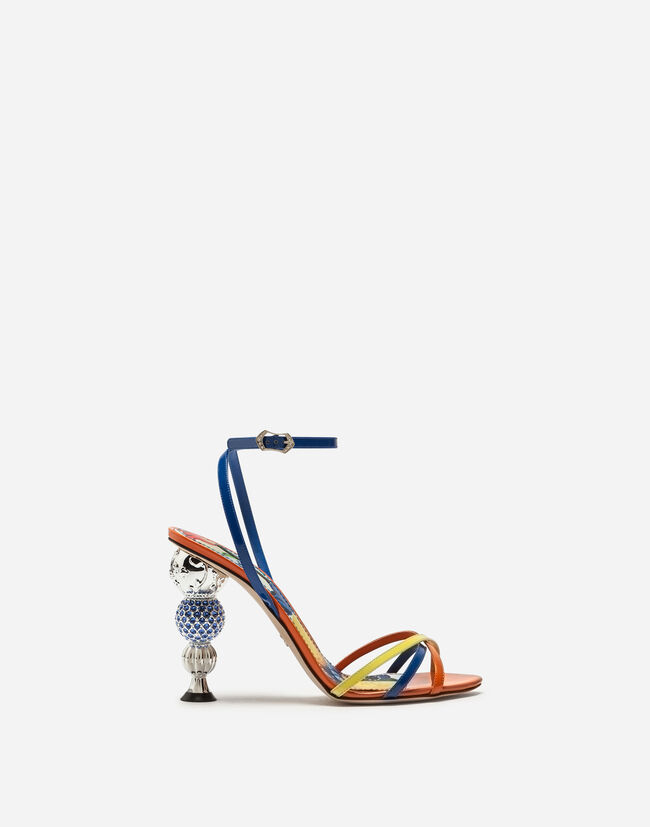 PATENT LEATHER SANDALS WITH BEJEWELED CRYSTAL BALL HEEL