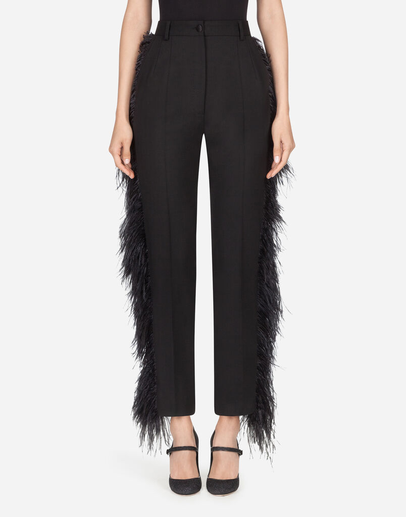 Dolce & Gabbana WOOL PANTS WITH FEATHERS