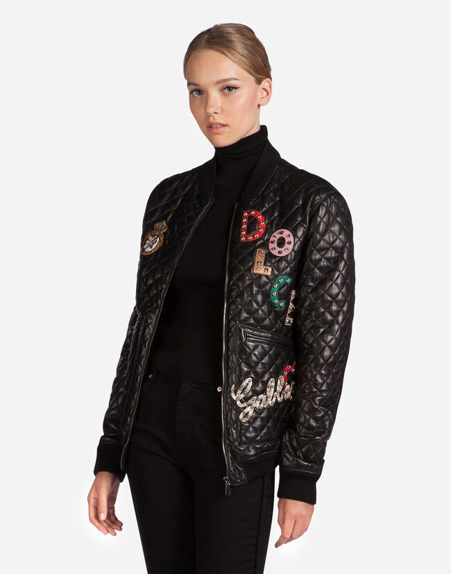 LEATHER BOMBER JACKET WITH PATCH