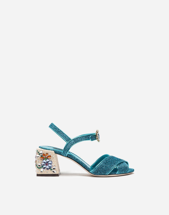 SANDAL IN SOFT LUREX WITH EMBROIDERED HEEL
