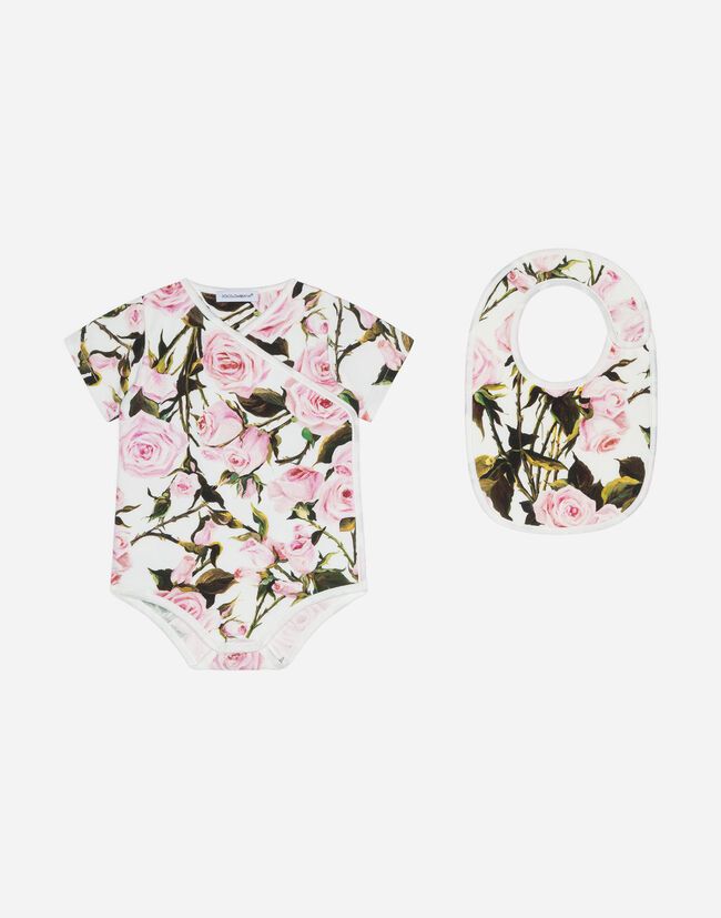 Dolce&Gabbana SET WITH BODYSUIT AND BIB IN PRINTED COTTON